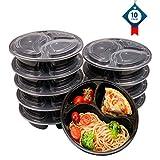 3 Contenedor de Compartimentos de Comida Preparada con Tapa, Apilable, Lavavajillas y Microondas, Caja de Almuerzo 10 pack by OITUGG