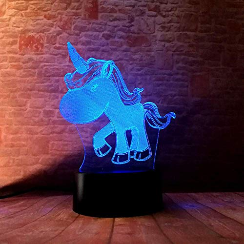 lampara 3d luz de noche Little Lumius 's Adecuado para dormitorio, habitación de niños, sala de estar, barra, carga USB táctil de 7 colores