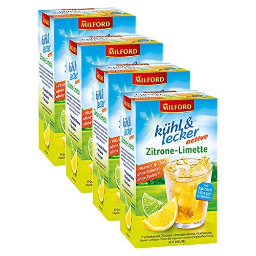 Milford kühl & lecker active Zitrone-Limette, 20 Teebeutel, 4er Pack