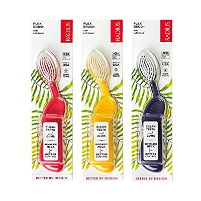 RADIUS Toothbrush Flex Brush, Left Hand - 3 Pack in Assorted Colors, BPA Free and ADA Accepted, Designed to Improve Gum Health and Reduce the Risk of Gum Disease