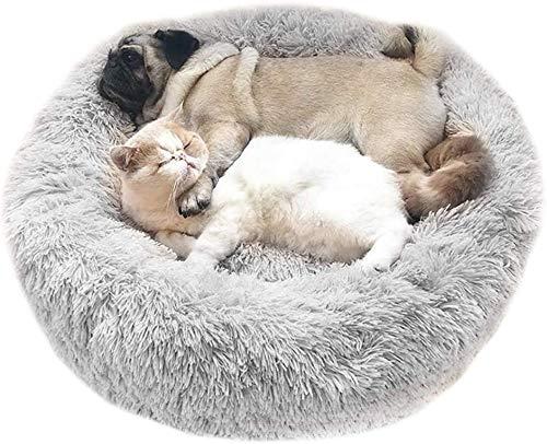 Katzenbett Flauschig/Haustierbett Plüsch/Hundebett/Haustier Plüsch Donut Rundes Katzensofa Hunde Sofa mit Weichen Plüsche, waschbar, rutschfest (70cm Hellgrau)