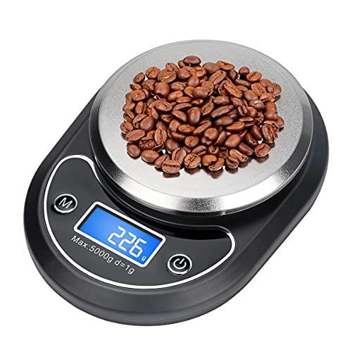 Báscula Digital para Cocina Aceshop Báscula Digitales de Precisión 5 kg /11 lbs Balanza de Alimentos Multifuncional Pesar Frutas Granos Carne u otro Líquido Báscula de Joyería con Pantalla LCD