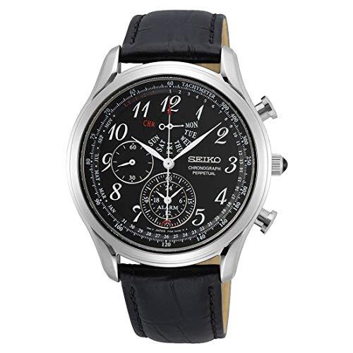 Seiko Chronograph Alarm Quarz Schwarz Zifferblatt Herren-Armbanduhr SPC255P1