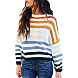 Wadonerful Women Knitwear O-Neck Long Sleeve Striped Sweater Color Block Patchwork Knitting Pullover Loose Tops Blouse Blue