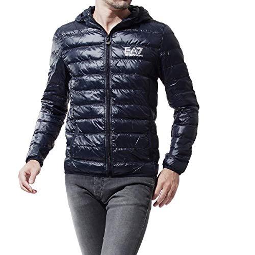 Emporio Armani Train Core Down Hooded Jacket Chamarra de Plumas, Noche Azul, L para Hombre