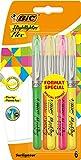 BIC Highlighter Flex Marcadores Punta Flexible – colores Surtidos, Blíster de 4+2 unidades