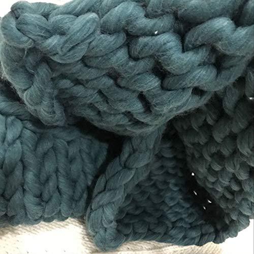 Manta tejida a mano de imitación de merino, de lana gruesa nórdica, se puede utilizar en sala de estar, dormitorio, sofá, balcón, 100 x 120 cm