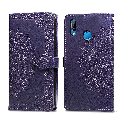 Bear Village Hülle für Huawei Nova 3, PU Lederhülle Handyhülle für Huawei Nova 3, Brieftasche Kratzfestes Magnet Handytasche mit Kartenfach, Violett