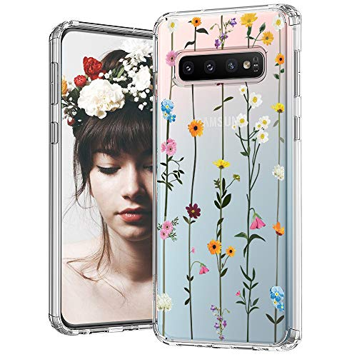 MOSNOVO Galaxy S10 Case, Wildflower Floral Flower Pattern Clear Design Printed Transparent Hard Back Case with TPU Bumper Protective Case Cover for Samsung Galaxy S10