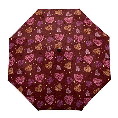 Faltbarer Reise-Regenschirm, Valentinstags-Wachsmalstift, Liebe auf rotem Hintergrund, automatisches Öffnen/Schließen, kompakter, winddichter Regenschirm für Mädchen/Frauen/Erwachsene