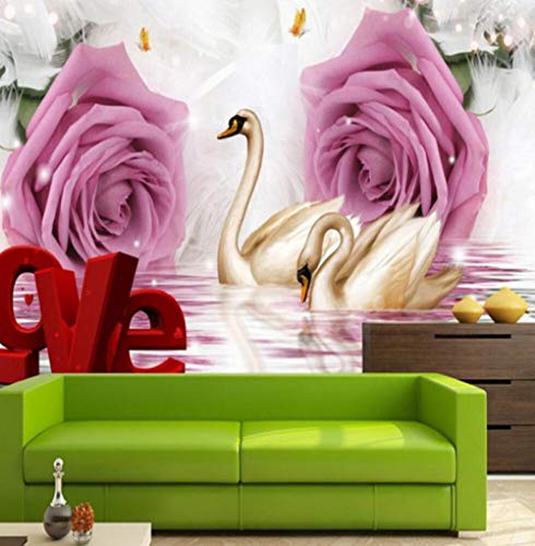 3D achtergrond fotobehang Mural 3D Mural Romantic Rose Swan Tv Background Wall Paper 400 * 280 400 x 280 cm.