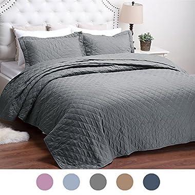 Bedsure Bed Quilts Solid Grey Bedspread Diamond Pattern Coverlet Full/Queen(86 x96 ) 3-Piece Lightweight Hypoallergenic Microfiber Dominique