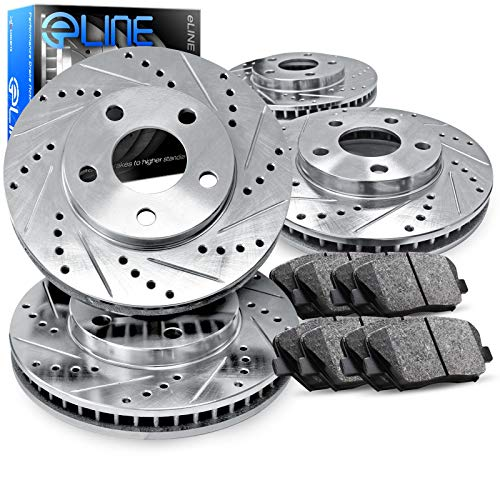 For 2007-2012 Nissan Altima Front Rear Drill/Slot Brake Rotors Kit + Ceramic Pads
