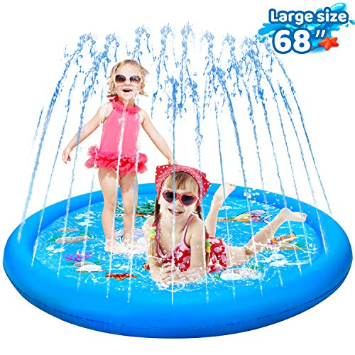 "KingsDragon Splash Pad Inflatable Sprinkler for Kids Outside Toys, 68"" Sprinkle and Splash Play Mat Kiddie Baby Toddlers Swimming Wading Pool Outdoor Water Toys Gifts for 1-12 Year Olds"