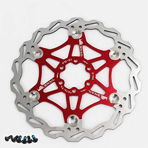 Newgoal Disco Freno a Disco per Bicicletta, 180mm Disco Freno per Bicicletta Mountain Bike Disco Freno flottante Blocco Centrale Accessori per Biciclette(Rosso)