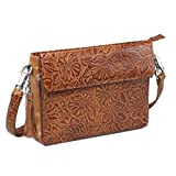 Concealed Carry Purse - Leather Tooled American Cowhide Crossbody by GTM (Tan)