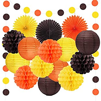 Happy Fall Thanksgiving Day Party Decorations Orange Yellow Brown Lanterns Paper Tissue Pom Poms Paper Fans For Autumn Harvest Birthday Happy Fall Party Supplies