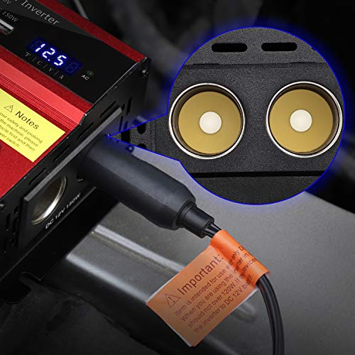 TWING 400W Power Inverter Car/Lightruck 12V DC to 110V AC Converter Dual 2.4A USB Ports Car Charger with Dual Cigarette Lighter Ports for Smartphones Laptops Tablets