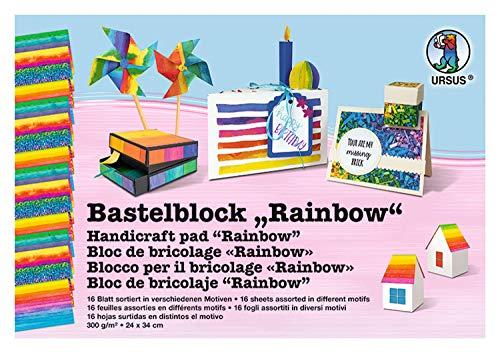 URSUS 12690011 Bastelblock Rainbow, beidseitig bedruckter Fotokarton, 300 g/m², ca. 24 x 34 cm groß, 16 Blatt sortiert in 4 Motiven, hergestellt aus Frischzellulose, für bunte Bastelarbeiten