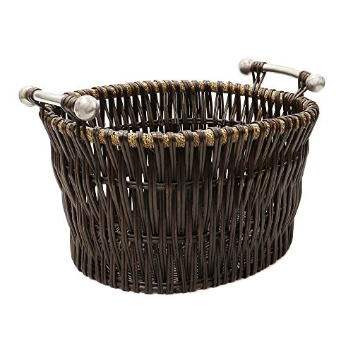 JVL Verticaal Weave Ovaal Log Mand met Metalen Handgrepen, Bruin, Medium