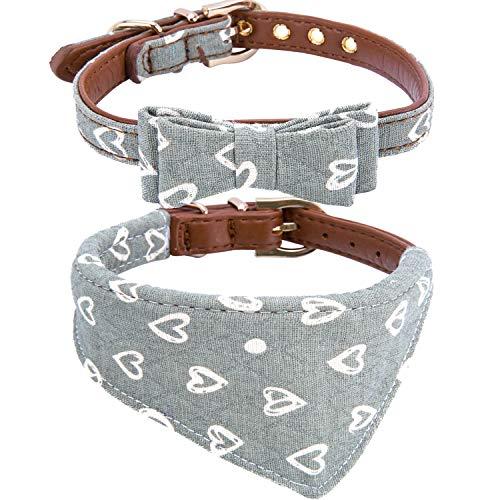 StrawberryEC Hundehalsband für Kleine Hunde, verstellbar, mit ID-Schnalle, Leder Hundehalsband, kariert, Rot, Small, Bow+Bandana-Mint