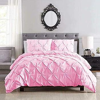 Shatex 3 Pieces Queen Comforter Sets King Set - Ultra Soft Hypoallergenic Plush Microfiber Fill  Pink Queen