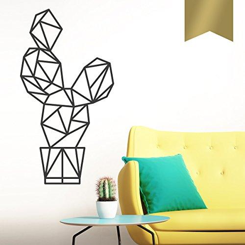 WANDKINGS Wandtattoo - Origami-Style Kaktus - 37 x 70 cm - Gold - Wähle aus 5 Größen & 35 Farben