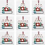 haoxia 2021 New Santa Christmas Tree Hanging Family Quarantine Survivor Ornament Decorations Gifts (Set of 9)