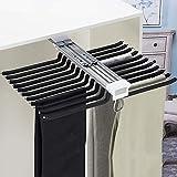KDDFN Armadio Estraibile Porta Pantaloni,Estraibile per Armadio Portapantaloni Multifunzione,Push-Pull 22 Pants Hanging Rods,per Risparmiare Spazio e Conservare (Black)
