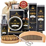 Beard Kit for Men Grooming & Care W/Beard Wash/Shampoo,Unscented Beard Growth Oil,Beard Balm Leave-in Conditioner,Beard Comb,Beard Brush,Beard Scissor 100% Natural & Organic for Beard Care