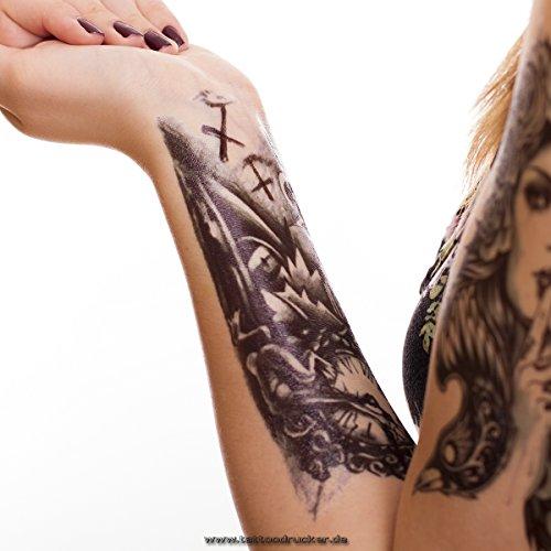 1 x Temporäre Körperkunst entfernbares Tattoo - Uhr, Clock. Zombie, Tod Armtattoo - Temporary Fake Tattoo HB035 (1)