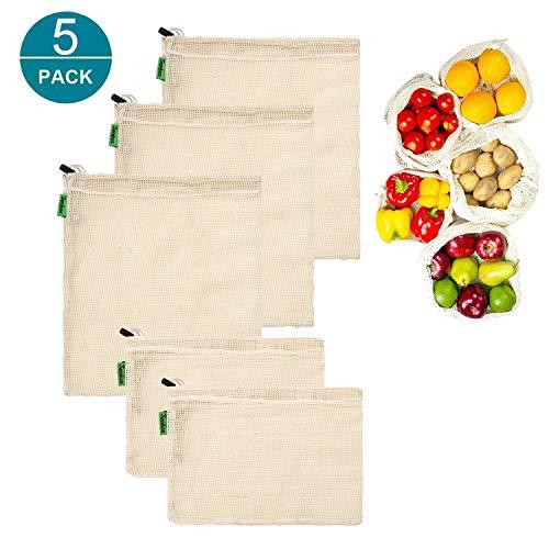 Bolsas Reutilizables de Compra - 5pcs Bolsa de Malla de Algodón Transpirables Lavables Natural Fácil de Limpiar Zero-Waste Biodegradables para Frutas, Verduras (2 pequeñas, 3 medianas)