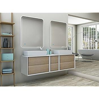 Mueble de baño suspendido moderno Bellagio suspendido roble tabaco medida 175 cm con espejos LED, top y lavabos: Amazon.es: Hogar