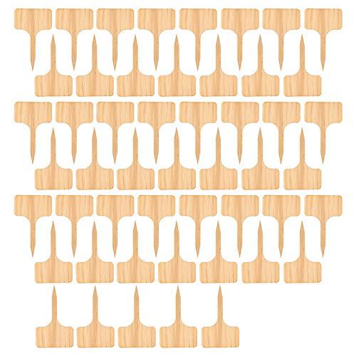 DIYARTS 50pcs Etiqueta De Planta De Bambú, Etiqueta De Letrero De Madera para Plantas Varias Formas para Marcar En El Jardín De Semillas Hierbas En Macetas Flores Y Verduras 6x10 Cm
