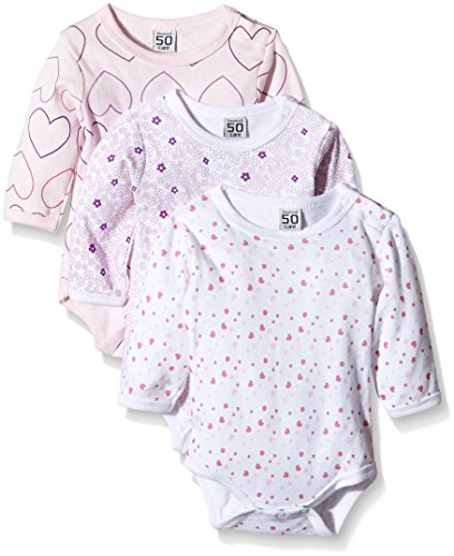Amazon Exclusive: Care Baby - Mädchen Langarm-Body im 3er Pack, Rosa (Light red 500), 0-3 Monate/50 cm