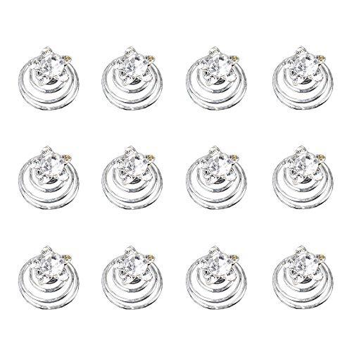 Vpang 12 Pcs Spiral Hair Pins Swirl Hair Twists Coils Hair Clips Wedding Bridal Rhinestone Pearl Metal Spiral Twist Hairpins Hair Accessories (Type 4)