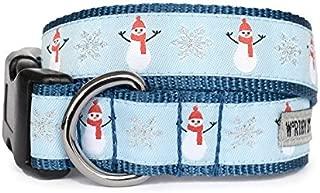 The Worthy Dog   Snowmen and Snowflake  Adjustable Designer Pet Dog Collar , Blue, XL