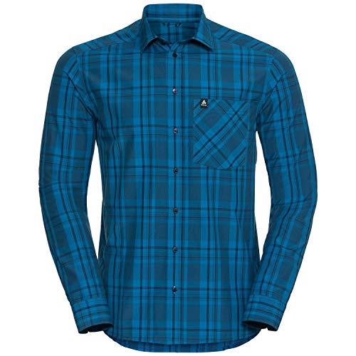 Odlo l/s ANMORE Chemises et t-Shirts. Homme, Peacoat-Bleu Opale-Carreaux, m