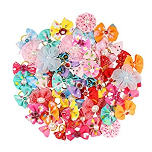 POPETPOP 50pcs Dog Bows with Rubber Bands-Pet Cat Dog Hair Bows Multicolor Rhinestone Beads Flowers Topknot Puppy Bows(Mixed Color)