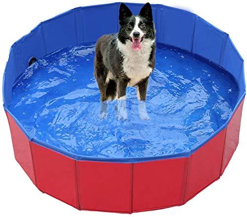 YeeWrr Hundepool fur Große Hunde Haustierpool Swimmingpool Hundepoolbad Öko-Hundepool Haustierpoolbad 160x30cm-60x20cm_rot