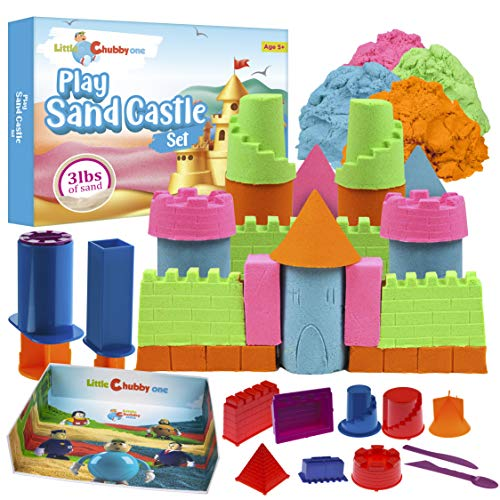 LITTLE CHUBBY ONE Kids Play Sand Castle Set - 3 Lbs Sand - Toy Magic Sand Set - 10 Molds - Mess Free Play for Girls and Boys - Ideas for Children Activities Age 2 3 4 5 6 7 8 9 10