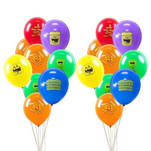 SUNBEAUTY 18 Luftballons Bausteine Bunt Kindergeburtstag Deko Ballons Block Party Dekoration