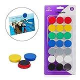PREMIUM 21 Magnete für Magnettafel in 7 Farben. Die 3cm runden Magneten von Nekava sind perfekt...