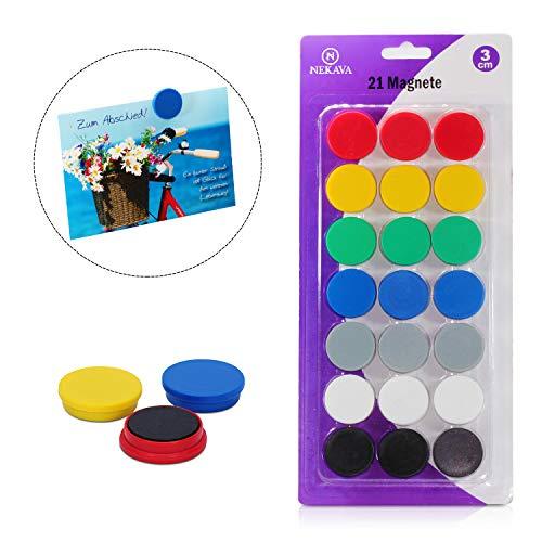PREMIUM 21 Magnete für Magnettafel in 7 Farben. Die 3cm runden Magneten von Nekava sind perfekt für Schule, Uni, Seminare, Arbeit am Whiteboard oder für zuhause als Kühlschrankmagnete geeignet