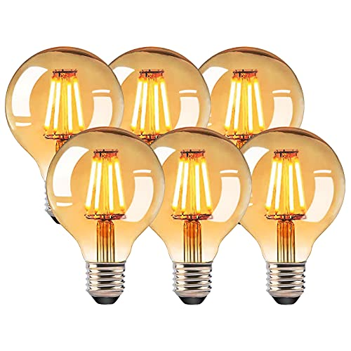 LED Glühbirne Vintage Antike Glühbirne 6 Stück,RANJIMA Vintage Glühbirne E27,Edison LED Lampe G80,Dekorative Antike Glühlampe,Dimmbare Lampe Retro,Ideal für Nostalgie,Retro Beleuchtung im Haus Café