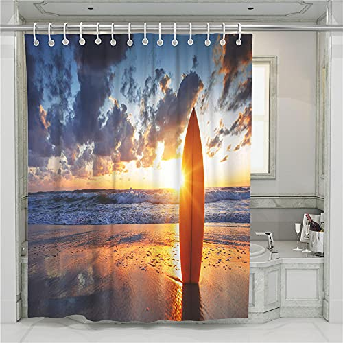 ZDPLL Cortina de Ducha Impresa en 3D Anochecer y Tabla de Surf Cortinas de duche em poliéster impermeável, para la decoración del hogar 180x220cm