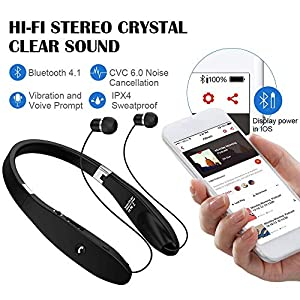 Bluetooth Headphones, Bluetooth Headset Foldable Neckband Wireless Headset with Retractable Earbuds, Bluetooth V4.1, 16 Hours Playtime, Sports Sweatproof Noise Cancelling Earphones with Mic (Black)