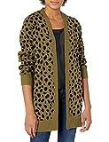 Lucky Brand Women's Long Sleeve Open Front Leopard Mid Length Cardigan, Winter Moss, M