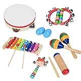 Juego de Instrumentos Musicales para niños pequeños, 13 Piezas 8 Tipos Instrumentos de percusión de Madera Educación Preescolar Aprendizaje temprano Juguete Musical para niños Iluminación Musical