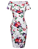Classy Floral Dress Stretchy Vintage Cocktail Dress 6 BP117-6